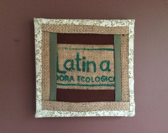 Fabric wall art made from burlap green coffee bag sacks and other natural fabrics, original and one of a kind.