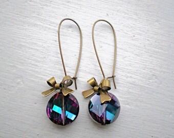 Dark Rainbow Crystal Earrings/Purple Earrings/Blue Earrings/Colorful Earrings/Bow Earrings/Coin Earrings/Crystal Earrings/Gifts For Her