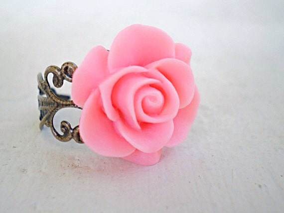 Romantic Rose Flower Ring/Coral Pink Ring/Flower Ring/Pink Rose Ring/Flower Ring/Mother's Day Gift/Pink Ring/Gifts For Her/Rose Ring