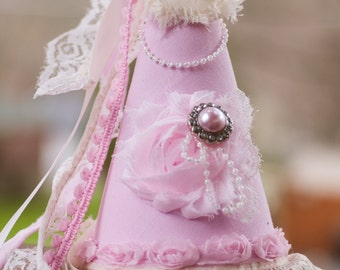 Princess Birthday Party Hat - Party Hat - Photo Prop - Shabby Chic Style - Princess Dress Up - Birthday Hat