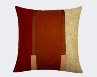 "Decorative Pillow Case, Wool felt  Burgundy, Grey, Brown colors, Decorative fabric Throw pillow case, fits 18"" x18"" insert, Toss case"