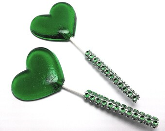 12 GREEN HEART LOLLIPOPS - Matching Faux Rhinestone Stick, Wedding and Bridal Lollipop Favors, Party Favors, Variety of Colors and Flavors