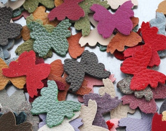 Leather butterfly die cuts 50 small butterflies wholesale variety of colors DIY Pet, Cat, Dog Collar Applique genuine leather