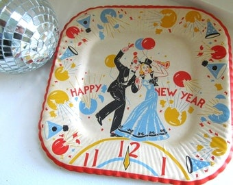 Vintage Set 1960s New Years Paper Plates, Five New Years Eve Party Plates, Reeds Party Plates