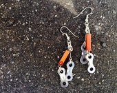 Upcycled Bicycle Burnt Orange Bead Chain Link Earrings