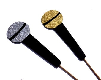 Photo Booth Props - GLITTER Microphones - Set of 2 - Silver and Gold GLITTER Photobooth Props