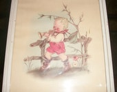 """Vintage 1930""""s Young Boy Playing A Horn Print Glass Framed"""