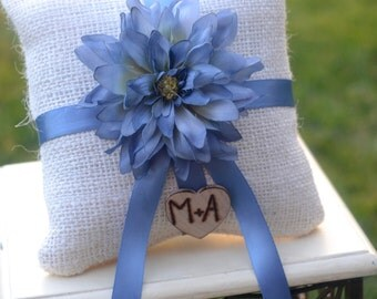 Custom Burlap blue flower ring bearer pillow You Pick Flower 10% discount promo code SPRING entire shop