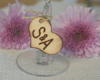 Personalized hand engraved wedding rustic burned heart tags with bride and groom initials