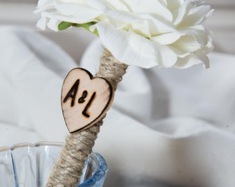 Shabby Chic Personalized White Ranunculus Guest Pen with wood heart with bride and groom initials over 60 flowers to select from
