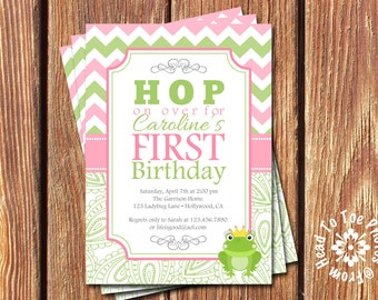 Froggy First Birthday Invitations
