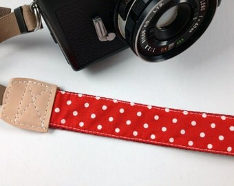 DSLR Camera strap---dots---red