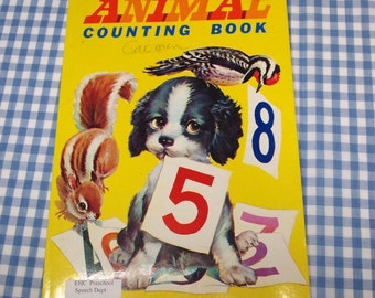 animal counting book, vintage 1970s rare children's book