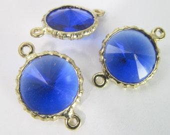 4 Vintage 26mm Clear Sapphire Blue Faceted Rivoli Channel Set Lucite Connectors Con261