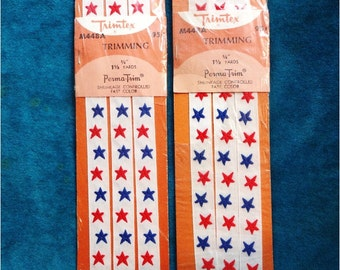 2 Vintage Packs of Trim Red White Blue Stars