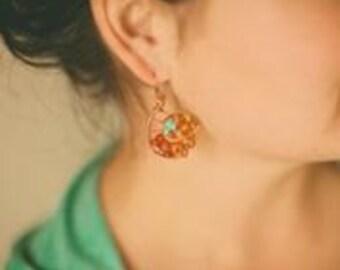Amber Nautilus Earrings