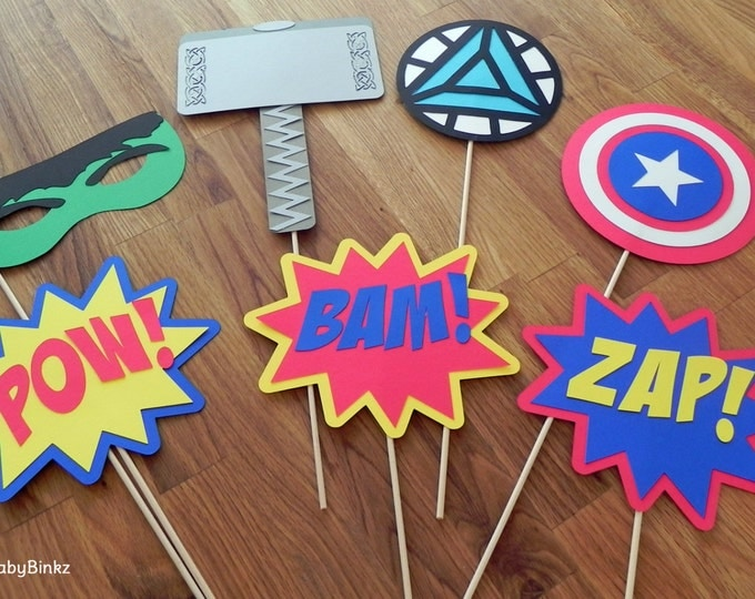 Photo Props: The Marvel Avengers Super Hero Set (7 Pieces) - party wedding birthday mask pow thor hulk america avengers