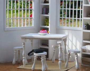 1:6 scale White Kitchen/ Dinning Table and 4 stools (Blythe, Barbie, 12'' Fashion dolls, Bratz, Momoko)