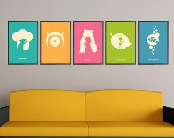 Finding Nemo, Brave, A Bug's Life, Monsters Inc and  Ratatouille Pixar Minimalist Poster Set of 5