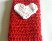 Red Cell Phone Cozy/Cover with White Heart for Samsung Galaxy