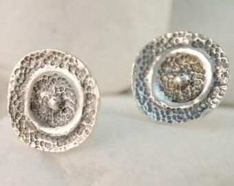"""Solid Sterling Silver Stud Earrings - """"Shield"""""""