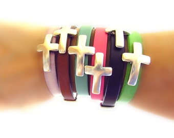 Leather Cross Bracelets with Silver Hook Clasp