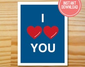 Doctor Who - I Heart Heart You Printable Valentine Card - INSTANT DOWNLOAD