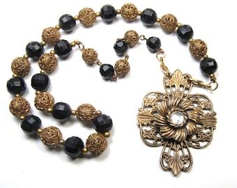 Handmade Brass Filigree Necklace Vintage Victorian Beads Black & Gold Assemblage