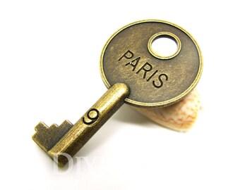 Antique Bronze Tone Paris Key Charms 39x22mm - 20Pcs - DC00156