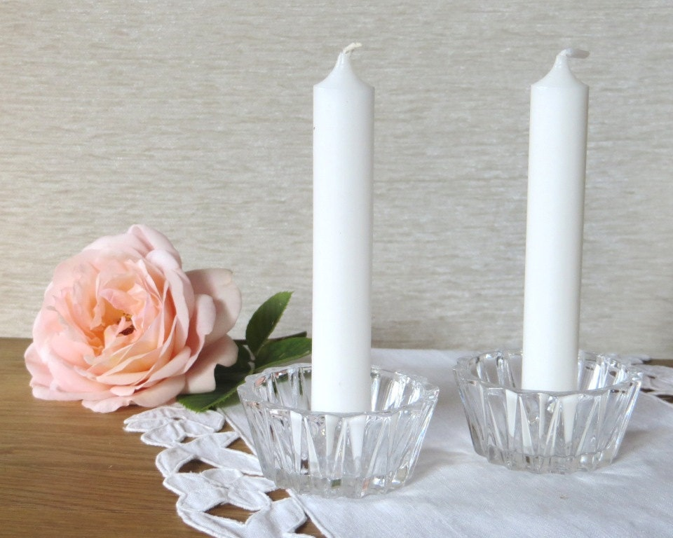vintage glass candle holder glass tea light holder clear glass. Black Bedroom Furniture Sets. Home Design Ideas