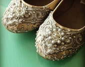 Marrakesh Lace Bridal Ballet Flats Wedding Shoes - All Full Sizes - Pick your own shoe color and crystal color