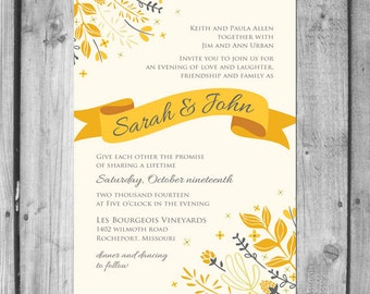 Golden Floral Wedding Invitation Set