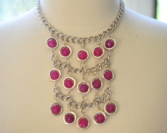 20% DISCOUNT COUPON CODE** Cascading Fuchsia Agate Silver Framed Bead Necklace