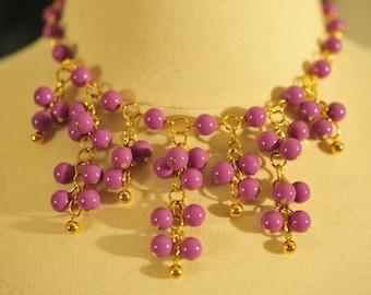 Handmade Vintage Orchid Cluster Necklace