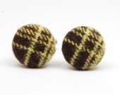 SALE Brown Yellow Upcycled Cufflinks - Stripe Fabric Cuff Links - Fall Fashion Gifts for Men