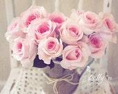 Rose Chair- Pink Roses Photograph- Still Life Photo- Pink Rose Bouquet- Romantic Art- Pastel Floral Art- Feminine Decor- 8x12 Fine Art Print