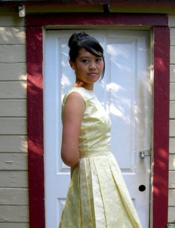 Yellow Brocade Vintage Dress