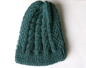 Men Knit Hat in Petrol Tweed - Fall Winter Accessories - Men Fashion - Cable Knit