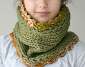 Knit Cowl in Green with Orange Trim - Neck Warmer - Snood - Fall Winter Fashion - Women Teens Accessories