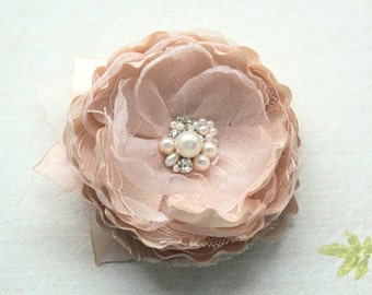 Bridal Blush Champagne Hair Flower/ Brooch/Handmade Wedding Accessory