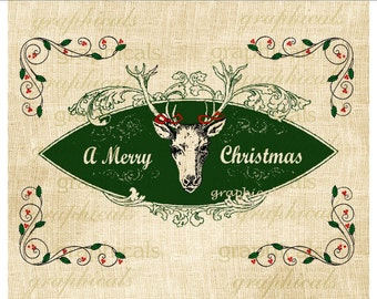 Christmas Deer Holly Instant digital download image for iron on fabric burlap transfer decoupage paper craft pillows totebag Item No 1901