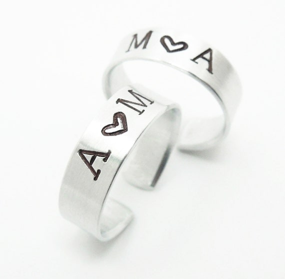 Personalized Promise Rings His And Hers Rings By Indiecreativ