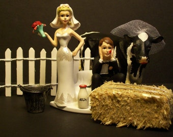 Marry the COW or Marry Me Bride & Groom Milk Man Wedding Cake Topper FUNNY