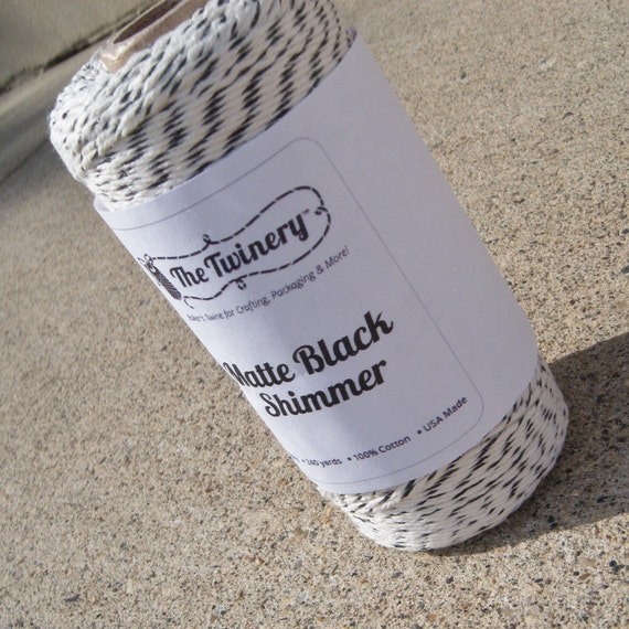Bakers Twine - The Twinery - New Matte Black and White Shimmer Metallics Bakers Twine - Or Your Choice of Color and Length
