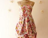 Summer Dress Dreamy Floral Goddess Floral Cotton Dress Halter Dress Pumpkin Skirt Tea Length Dress