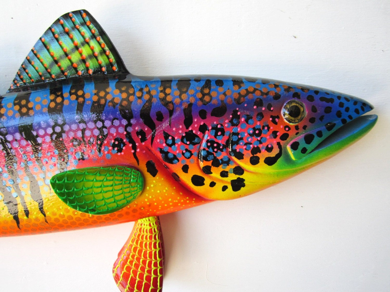 Wood fish carving wall art sculpture for Fish wall art