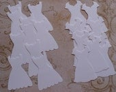 Stampin Up Dress Up Paper Piecing Shapes from Stampin Up Die - White Cardstock for cards Crafts Bride Wedding Dress