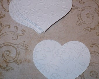 10 Full Heart Embossed Shapes Die Cuts Made from White Cardstock for Weddings Tags Cardmaking Labels