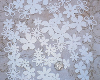 Assorted Cricut Die Cut Flowers / Blooms over 50 pieces Embellishments Made from White Shimmer cardstock colors