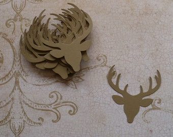 24 pc Small Punchies -  Deer Head Reindeer Die Cuts Kraft Cardstock for DIY Crafts for Christmas Cards Masculine Hunting